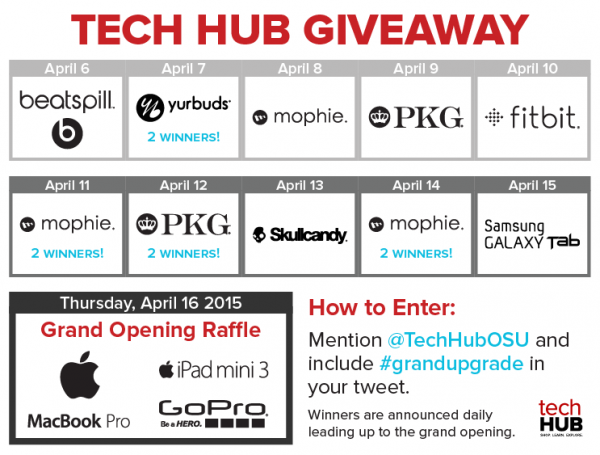 tech hub grand opening giveaway calendar of prizes