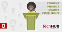 Cartoon student presenting at podium with light bulb graphic